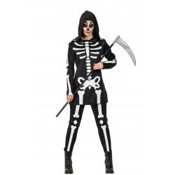 Disfraz de Esqueleto Capucha Mujer