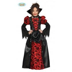 Disfraz de Vampiresa Bordada Negra y Roja