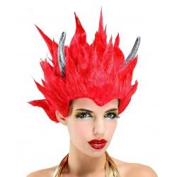 Peluca Roja Diabla Cuernos
